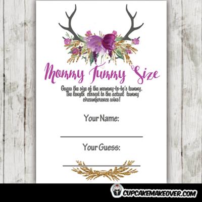 purple floral deer antlers baby shower games diy printable fun ideas