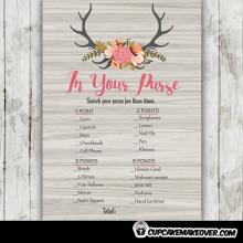 rustic wood floral deer antlers baby shower games
