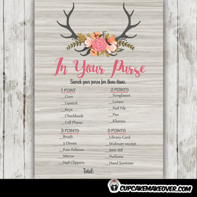 rustic wood floral deer antlers baby shower games