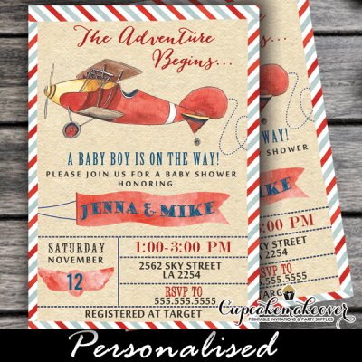 airplane invitations baby shower vintage red plane boy