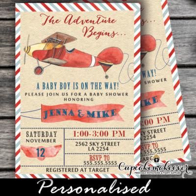 airplane invitations baby shower vintage red plane boy