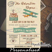 teal blue airplane invitations baby shower vintage plane boy