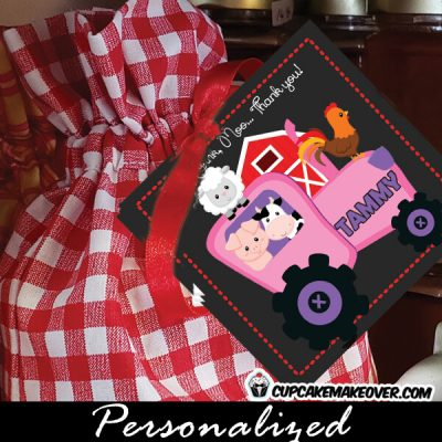 girl barnyard animals gift labels farm animals pink tractor birthday favor tags