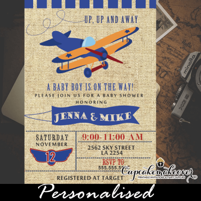 airplane baby shower invitations vintage blue plane boy