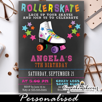 fun chalkboard roller skating birthday invitations rainbow stars