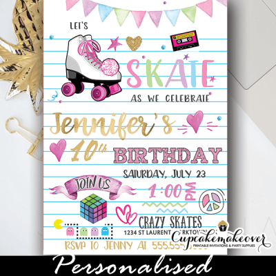 retro doodle roller skating birthday invitations 80's 90's theme party girl