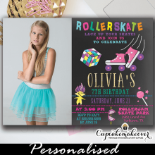 90s theme roller skating birthday photo invitations girl