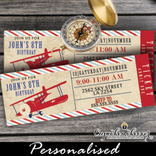 airplane ticket invitations vintage red plane birthday invite