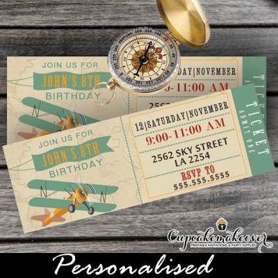 airplane ticket invitations boy birthday party teal blue vintage plane