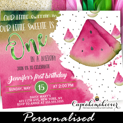 one in a melon pink watermelon birthday invitations summer party theme