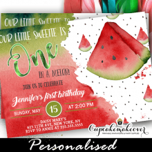 one in a melon red watermelon birthday invitations summer party theme
