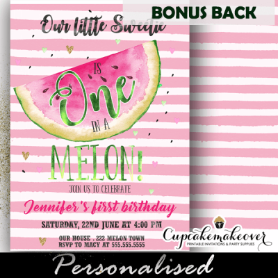 pink stripes one in a melon birthday invitations watermelon party
