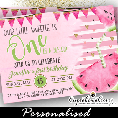 pink watermelon birthday invitations summer party ideas girl