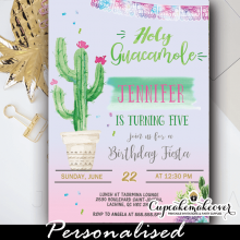 Fiesta Holy Guacamole Birthday Invitation girl diy ideas