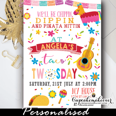 fiesta taco twosday birthday invitations