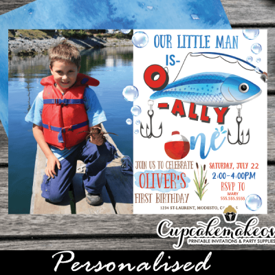 o fish ally one invitations with photo fishing first birthday theme