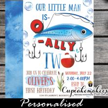 o fish ally two invitations fishing birthday party theme