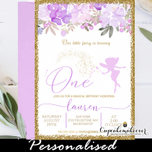 purple lilac floral fairy first birthday invitations gold glitter