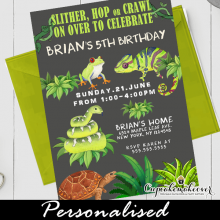 jungle reptile birthday invitations snake lizard turtle boys party