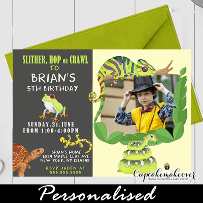 reptile birthday invitations with photo snake lizard turtle frog boys party zoo