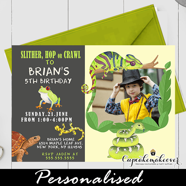 Jungle Reptile Birthday Invitations With Photo Cupcakemakeover