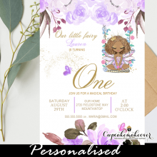 lilac purple peony flowers african american fairy birthday invites