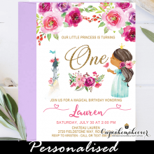 pink floral african american princess birthday party invites 1st