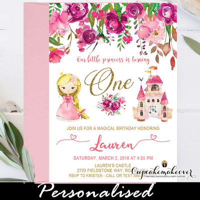 pink floral blond princess birthday party invites 1st