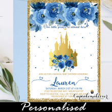 floral royal blue and gold castle baby shower invitations prince boy