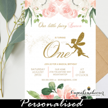 floral blush ivory fairy birthday invites gold glitter girl party