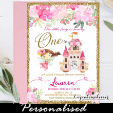 pink floral brunette fairy princess birthday invitations castle gold