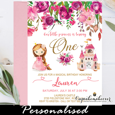 pink floral brunette princess birthday party invites 1st