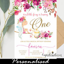 floral fuchsia pink fairy birthday invites gold glitter girl enchanted garden