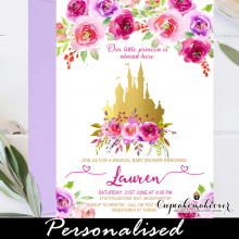 floral pink and gold castle baby shower invitations royal princess