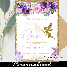 floral pink purple fairy birthday invites first party girl