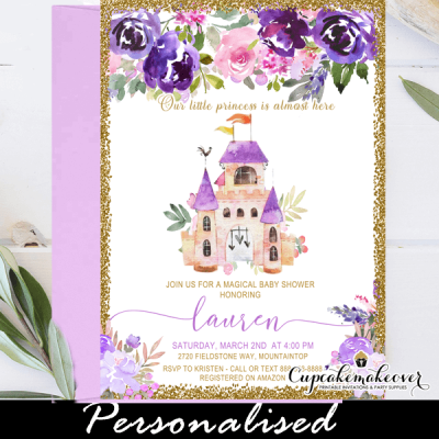 floral purple castle baby shower invitations royal princess girl