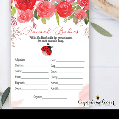 floral red roses ladybug baby shower games girl theme