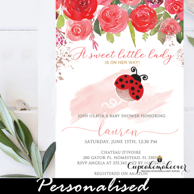floral red roses ladybug baby shower invitations girl theme watercolor