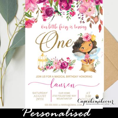 pink fuschia flowers tan ethnic fairy birthday invitations