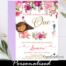 tan ethnic pink floral african american princess birthday party invites 1st