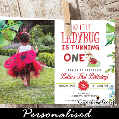 ladybug first birthday photo invitations girl ideas 1st theme