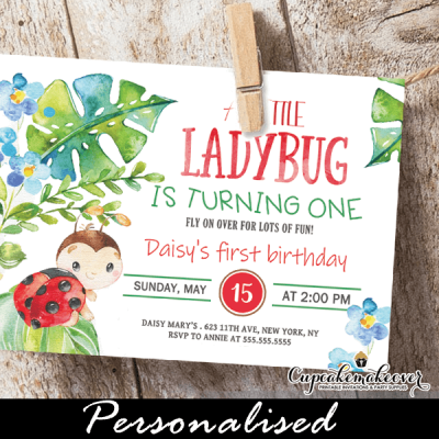 ladybug invitations for 1st birthday first ideas girls