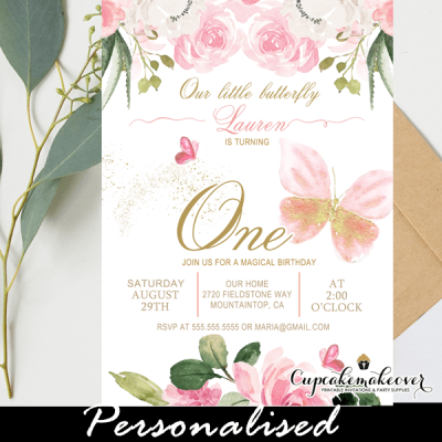 floral ivory pink butterfly birthday invitations 1st first ideas girl