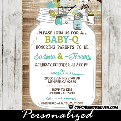 babyq mason jar invitations rustic wood green turquoise baby shower invites