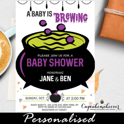 a baby is brewing halloween baby shower invitations