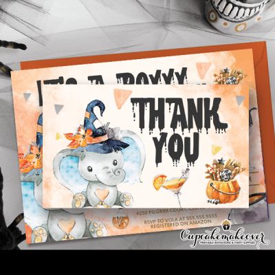elephant halloween baby shower thank you cards fall ideas