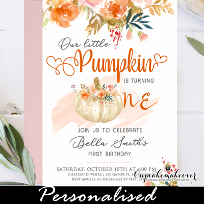 floral blush orange pumpkin birthday invites fall 1st first party ideas