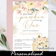 floral ivory blush pumpkin birthday invites girl 1st one party ideas fall