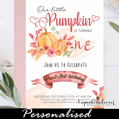 fall floral red orange little pumpkin birthday invitations 1st one party ideas girl