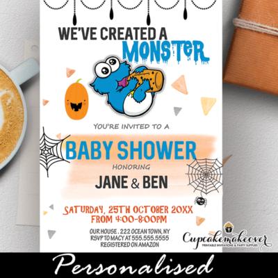 little monster halloween baby shower invites sesame street boy ideas cookie
